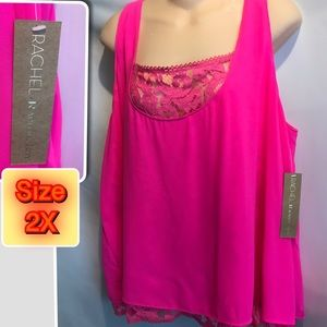 Rachel Roy Sleeveless Pink/Lace plus size 2X Top